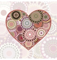 Vintage multi colored patterned heart vector image