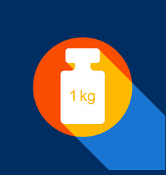 Weight simple sign white icon on tangelo vector