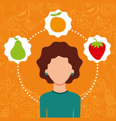woman portrait with organic fresh fruits image vector image