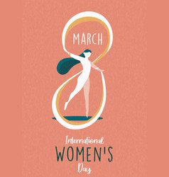 Womens day 8 march card woman dancing vector