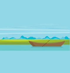 wooden boat flat vector image