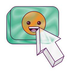 arrow cursor with smile emoticon button icon vector image