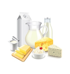 Dairy products isolated on white vector image