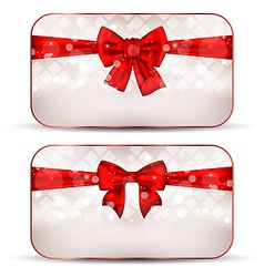 Christmas cards with gift bows vector image vector image