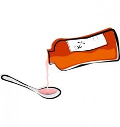 liquid medicine in a spoon vector image vector image