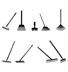 silhouettes of rake vector image