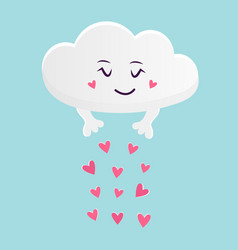 the funny cloud scattering hearts vector image