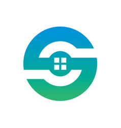 circle home building logo vector image