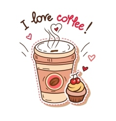 coffee and cupcake vector image vector image