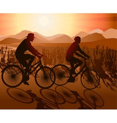Couple on Bicycles on a Scenic Ride vector image vector image
