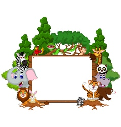cute animal cartoon with blank board and forest vector image vector image