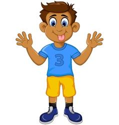 funny boy cartoon showing his tongue vector image vector image