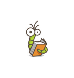 funny green worm reading an orange book vector image