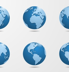 set of six detailed globes vector image vector image