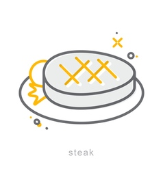 Thin line icons Steak dish vector image