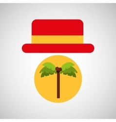 travel tourist hat concept coconut tree vector image vector image