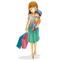 a mother and a kid vector image