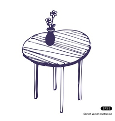 Beautiful table and vase vector image vector image