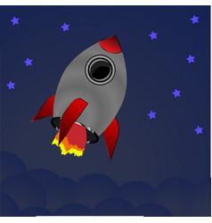 cartoon rocket on space background vector image vector image