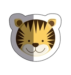 Color sticker with tiger head and middle shadow vector