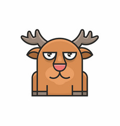 cute deer icon on white background vector image vector image