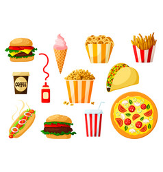 fast food dishes with drink and dessert icon set vector image vector image