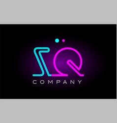 neon lights alphabet zq z q letter logo icon vector image vector image