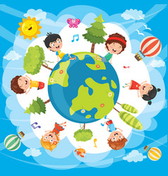 of world kids vector image