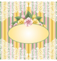 striped floral background vector image
