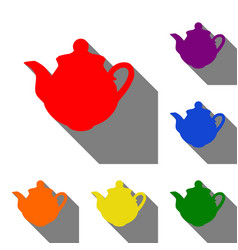 tea maker sign set of red orange yellow green vector image