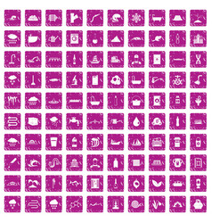 100 water supply icons set grunge pink vector