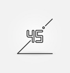 45 degrees concept icon in outline style vector image