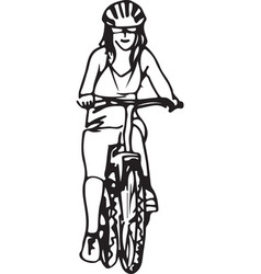 Abstract of woman taking a ride on a bicicle vector