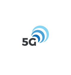 abstract signal icon blue arc 5g mobile logo vector image