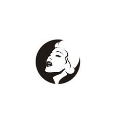 american retro vintage singer woman beauty face si vector image