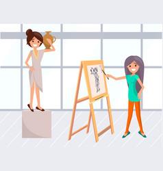 artist woman and posing model portrait classes vector image