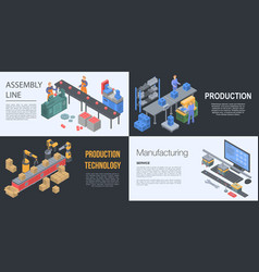 Assembly line manufacture banner set isometric vector