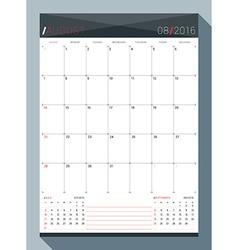 August 2016 Design Print Template Monthly Calendar vector