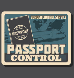 Aviation air travel passport and border control vector