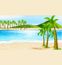 Background scene with coconut trees on beach vector