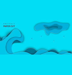 background with blue color paper cut shapes 3d vector image