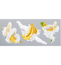 banana and milk splash yogurt 3d realistic icon vector image