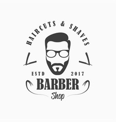barber shop logo hairdressing salon emblem vector image