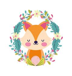bashower cute little fox wreath flowers foliage vector image