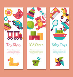 batoy shop banner in flat cartoon style kids vector image