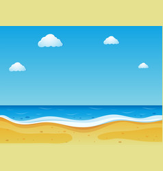 Beach scene with blue sky vector