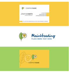 beautiful leaf logo and business card vertical vector image