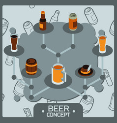 beer concept isometric icons vector image