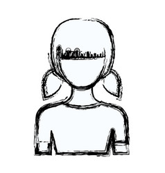 blurred silhouette faceless half body girl with vector image