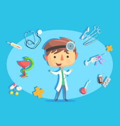 boy doctor kids future dream professional vector image